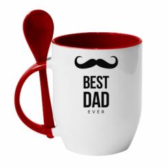 Кружка с керамической ложкой Best Dad Ever