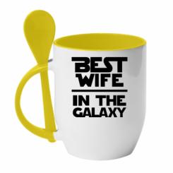 Купити Кружка з керамічною ложкою Best wife in the Galaxy