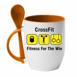 Купити Кружка з керамічною ложкою Crossfit Fitness For The Win