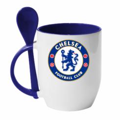 Кружка з керамічною ложкою FC Chelsea
