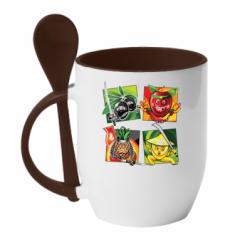 Кружка з керамічною ложкою Fruit Ninja
