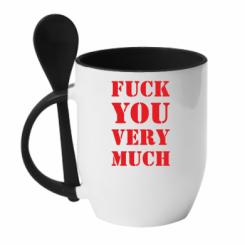 Кружка з керамічною ложкою Fuck you very much