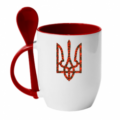 Купити Кружка з керамічною ложкою Герб України з маками