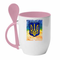 Кружка з керамічною ложкою Герб України колір