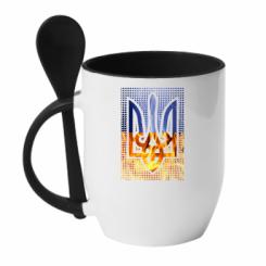 Кружка з керамічною ложкою Герб України. Вогонь і Блискавки.