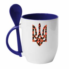 Купити Кружка з керамічною ложкою Герб в маках