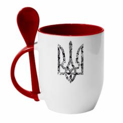 Купити Кружка з керамічною ложкою Герб з візерунками