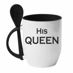 Кружка с керамической ложкой His Queen