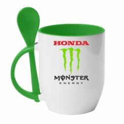 Купити Кружка з керамічною ложкою Honda Monster Energy