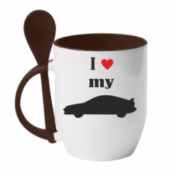 Купити Кружка з керамічною ложкою I love my car