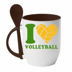 Купити Кружка з керамічною ложкою I love volleyball
