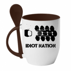 Кружка з керамічною ложкою Idiot Nation