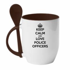 Кружка з керамічною ложкою Keep Calm and Love police officers