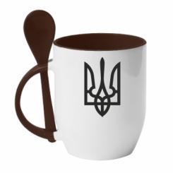 Купити Кружка з керамічною ложкою Класичний герб України