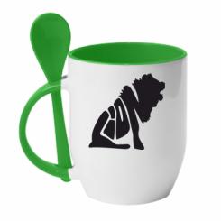Купити Кружка з керамічною ложкою Лев