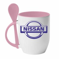 Купити Кружка з керамічною ложкою логотип Nissan