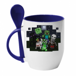 Кружка с керамической ложкой Minecraft Party