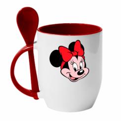 Кружка с керамической ложкой Минни Маус