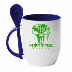 Купити Кружка з керамічною ложкою Monster Energy Череп