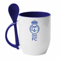 Кружка с керамической ложкой Реал Мадрид