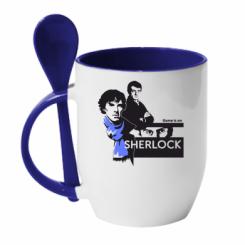 Кружка с керамической ложкой Sherlock (Шерлок Холмс)