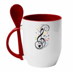 Кружка с керамической ложкой Скрипичный ключ