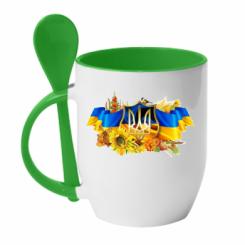 Кружка з керамічною ложкою Сонячна Україна