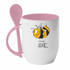 Купити Кружка з керамічною ложкою Шалена бджілка