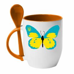 Купити Кружка з керамічною ложкою Український метелик