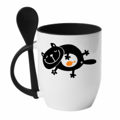 Купити Кружка з керамічною ложкою Жирний кіт