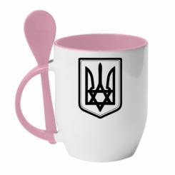 Купить Кружка с керамической ложкой Звезда Давида+герб
