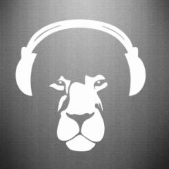 Наклейка Лев в навушниках