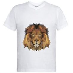Чоловіча футболка з V-подібним вирізом Lion Poly Art