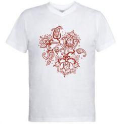 Чоловіча футболка з V-подібним вирізом Лотос візерунки
