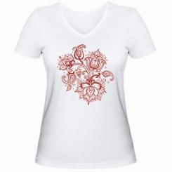 Жіноча футболка з V-подібним вирізом Лотос візерунки