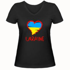 Купити Жіноча футболка з V-подібним вирізом Love Ukraine