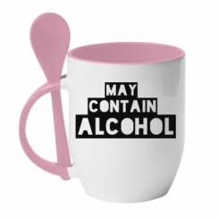 Кружка з керамічною ложкою May contain alcohol