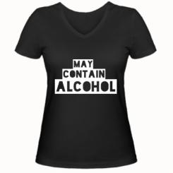 Жіноча футболка з V-подібним вирізом May contain alcohol