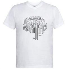 Чоловіча футболка з V-подібним вирізом Мікросхема Мозок