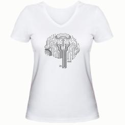 Жіноча футболка з V-подібним вирізом Мікросхема Мозок