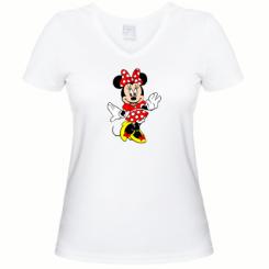 Женская футболка с V-образным вырезом Минни Красавица