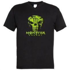 Купити Чоловічі футболки з V-подібним вирізом Monster Energy Череп