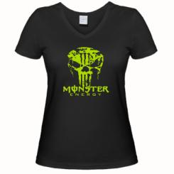 Купити Жіноча футболка з V-подібним вирізом Monster Energy Череп