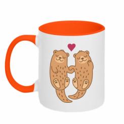 Кружка двокольорова Otters in love