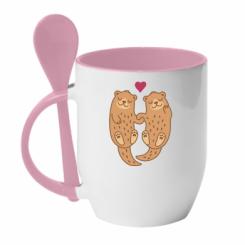 Кружка з керамічною ложкою Otters in love