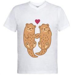 Чоловіча футболка з V-подібним вирізом Otters in love