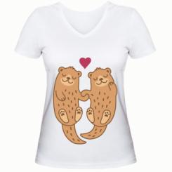 Жіноча футболка з V-подібним вирізом Otters in love