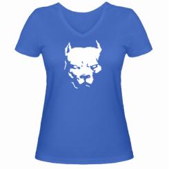 Купити Жіноча футболка з V-подібним вирізом Питбуль