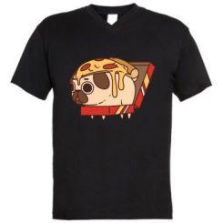 Чоловіча футболка з V-подібним вирізом Pug and pizza