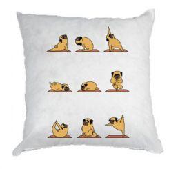 Подушка Pug engaged in yoga